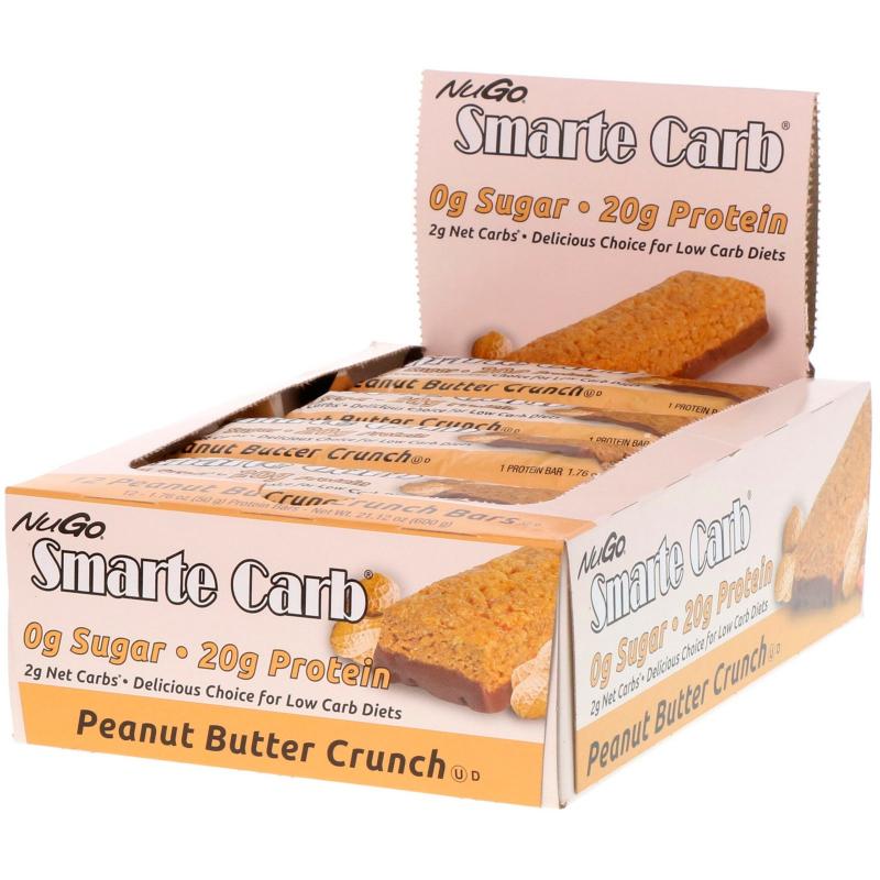 NuGo Nutrition, Smarte Carb, Peanut Butter Crunch Bars, 12 Bars, 1.76 oz (50 g) Each