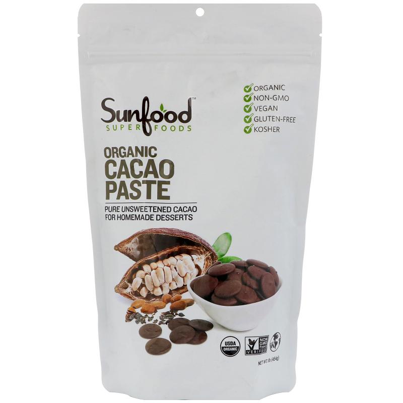 Sunfood, Organic Cacao Paste, 1 lb (454 g)