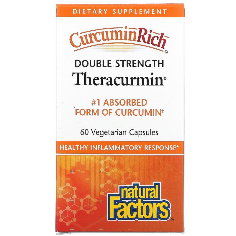 Natural Factors, CurcuminRich, Double Strength Theracurmin, 60 Vegetarian Capsuls