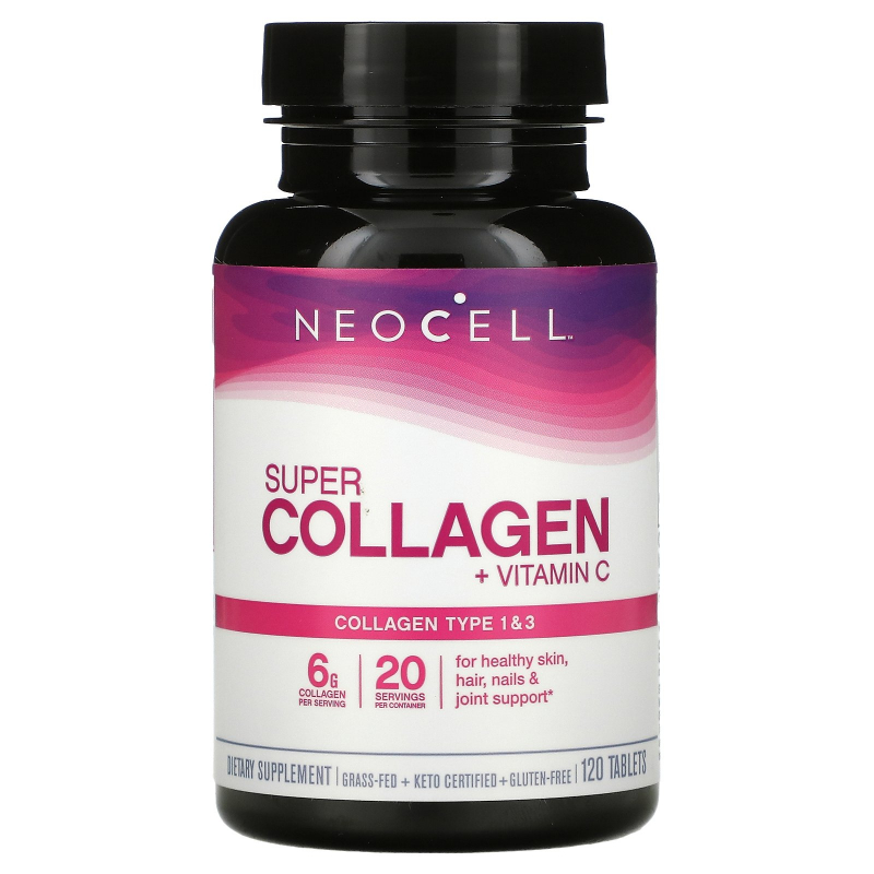 Neocell, Super Collagen+C, Type 1 & 3, 6,000 mg, 120 Tablets