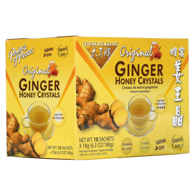 Prince of Peace, Instant Ginger Honey Crystals, 10 Bags, (18 g) Each