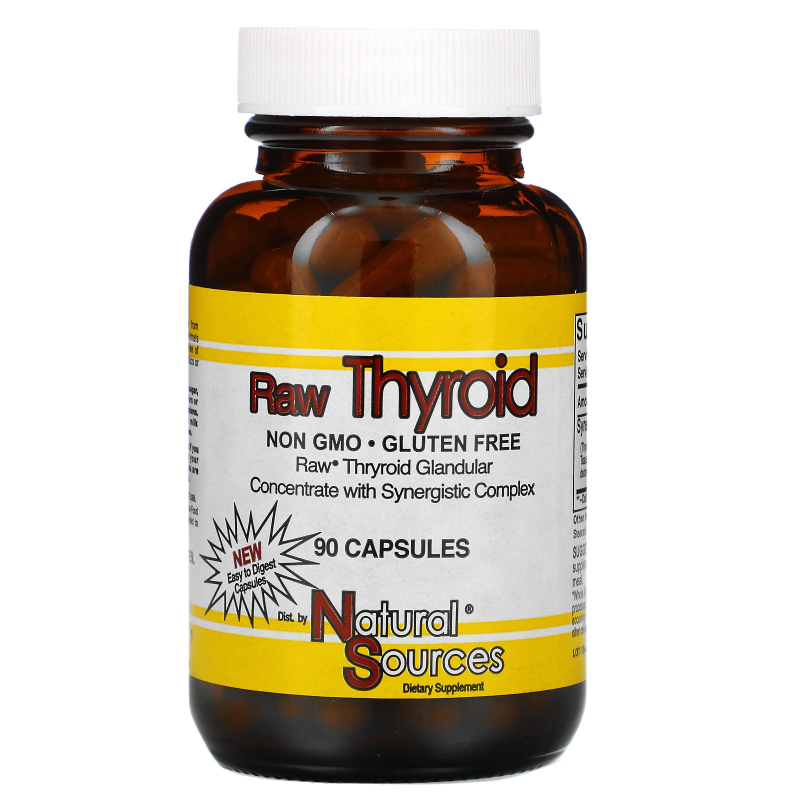 Natural Sources, Raw Thyroid, 90 Capsules