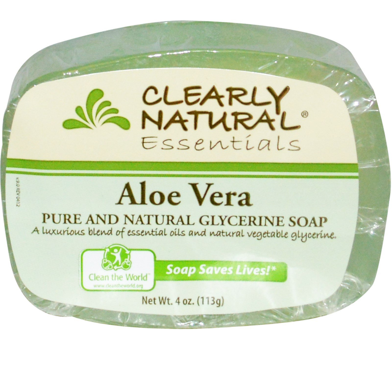 Clearly Natural, Essentials, Pure and Natural Glycerine Soap, Aloe Vera, 4 oz (113 g)