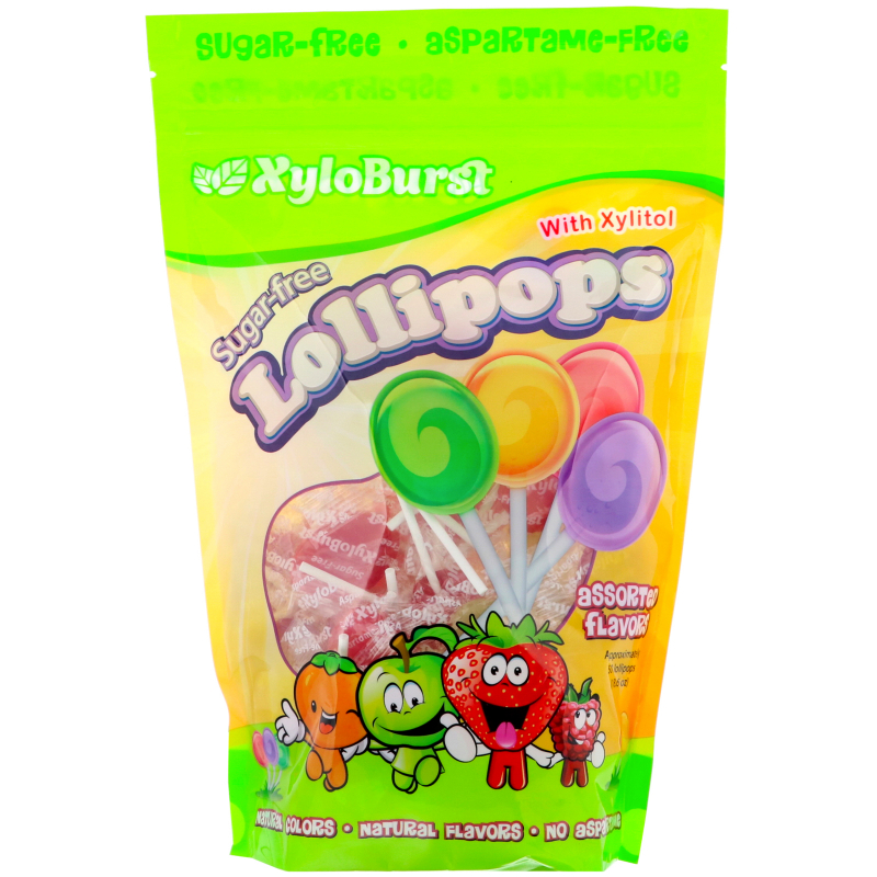 Xyloburst, Sugar-Free Lollipops with Xylitol, Assorted Flavors, 50 Lollipops (18.6 oz)