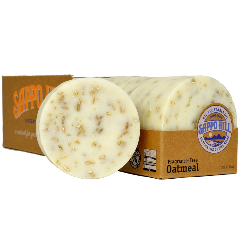 Sappo Hill, Glyceryne Cream Soap, Oatmeal, Fragrance-Free, 12 Bars, 3.5 oz (100 g) Each