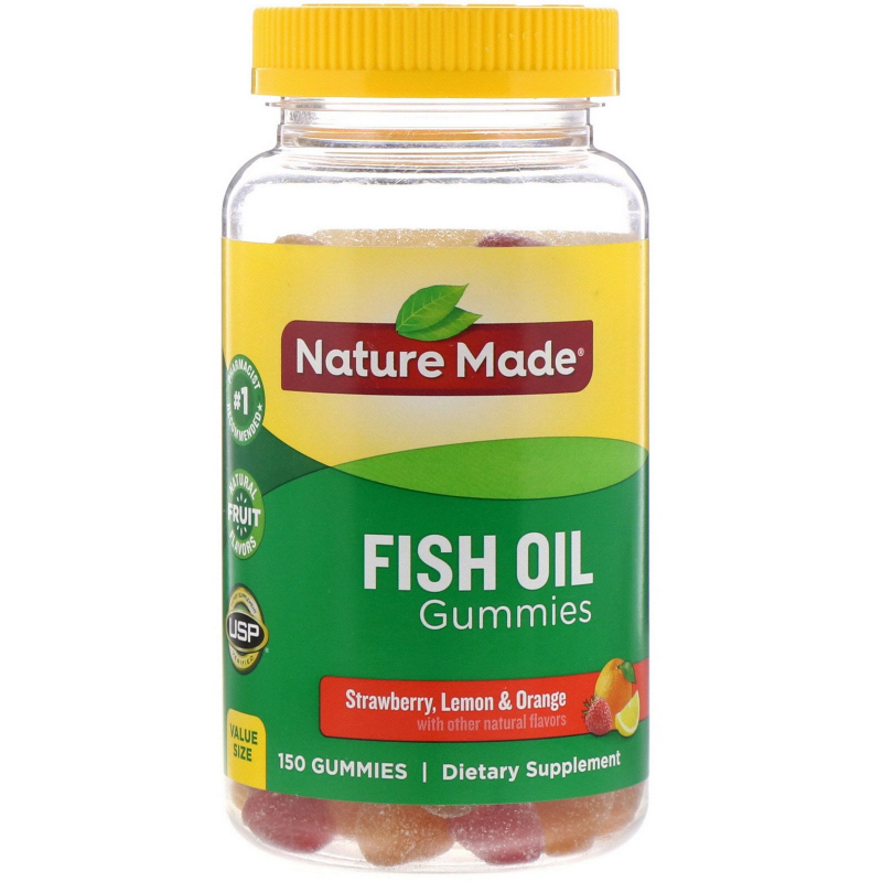 Nature Made, Adult Gummies Fish Oil, Orange, Lemon & Strawberry, 150 Gummies