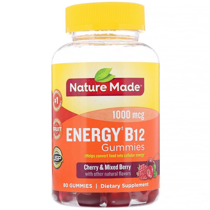 Nature Made, Adult Gummies, Energy B12, Cherry & Mixed Berries, 80 Gummies