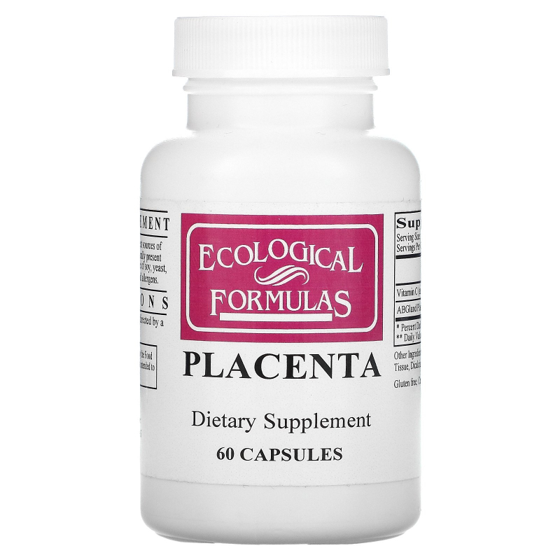 Cardiovascular Research Ltd., Ecological Formulas, Placenta (Lyophilized), 60 Capsules
