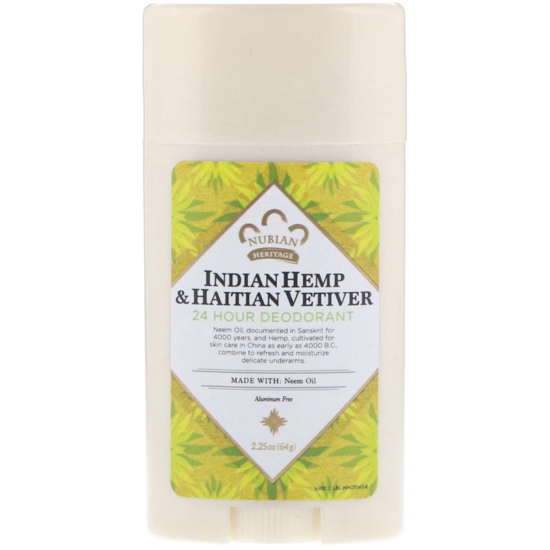 Nubian Heritage, 24 Hour Deodorant, Indian Hemp & Haitian Vetiver, 2.25 oz (64 g)