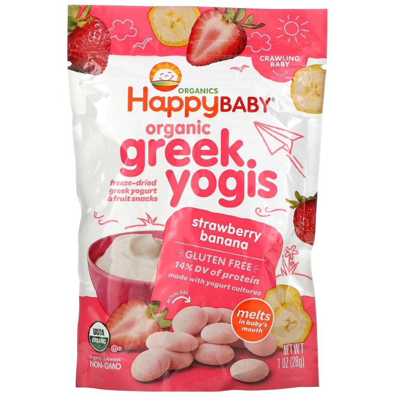 Happy Family Organics, Organic Greek Yogis, Strawberry Banana, 1 oz (28 g)