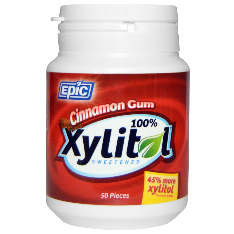 Epic Dental, 100% Xylitol Sweetened, Cinnamon Gum, 50 Pieces