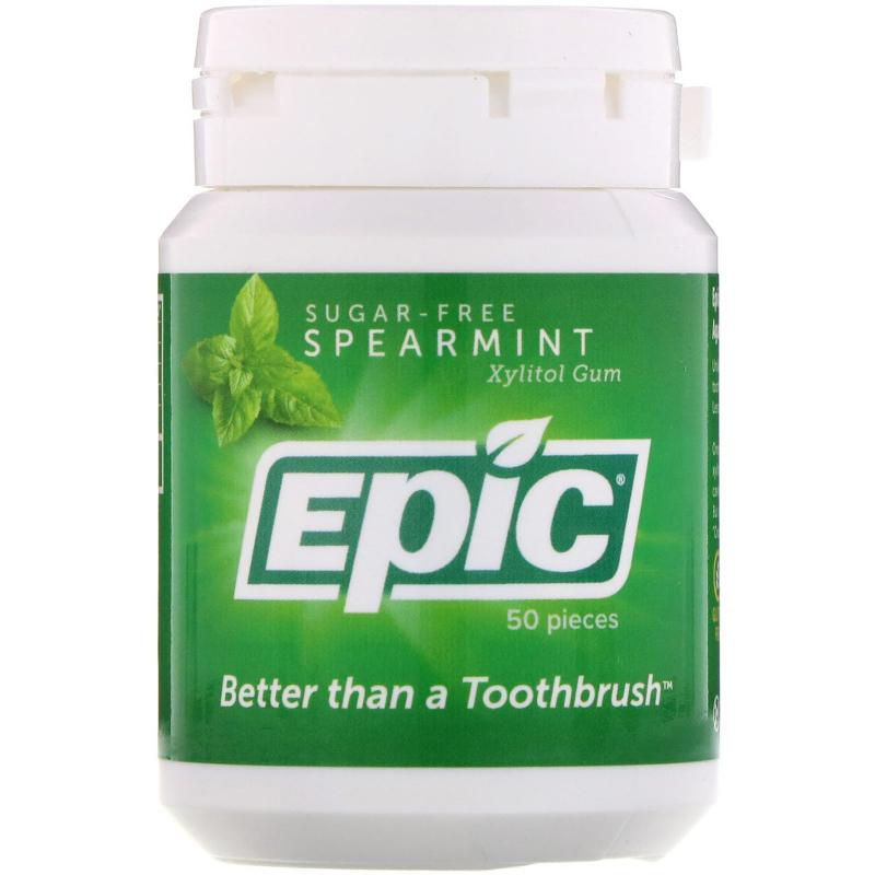 Epic Dental, Xylitol Gum, Sugar Free, Spearmint, 50 Pieces