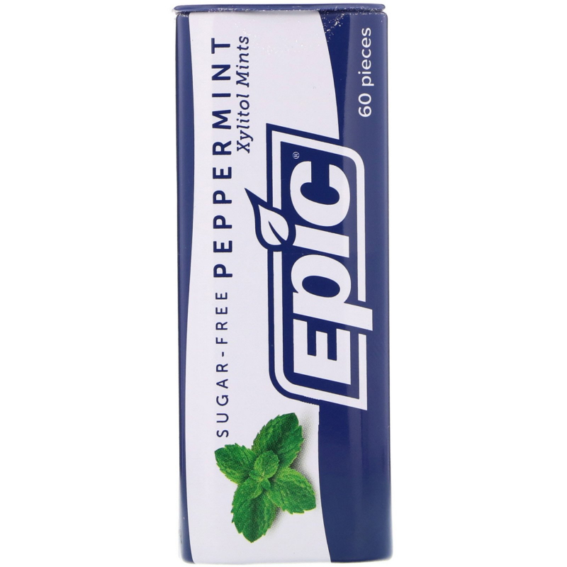 Epic Dental, 100% Xylitol Sweetened, Peppermint Mints, Sugar-Free, 30 g
