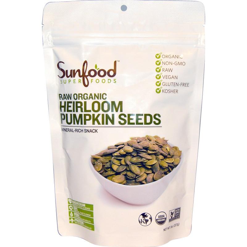 Sunfood, Raw Organic Heirloom Pumpkin Seeds, 8 oz (227 g)