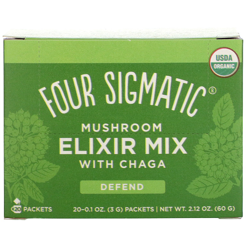 Four Sigmatic, Chaga, Mushroom Elixir Mix, 20 Packets, 0.1 oz (3 g) Each