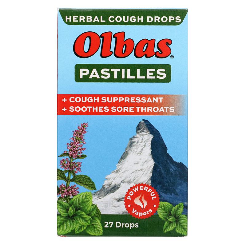 Olbas Therapeutic, Pastilles, Herbal Cough Drops, Maximum Strength, Menthol, 27 Drops