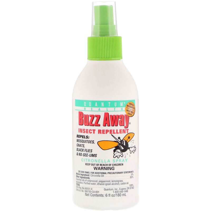 Quantum Health, Buzz Away, Insect Repellent, Citronella Spray, 6 fl oz (180 ml)