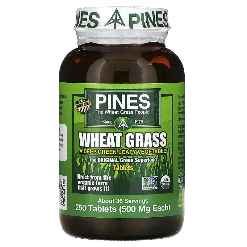 Pines International, Wheat Grass, 500 mg, 250 Tablets