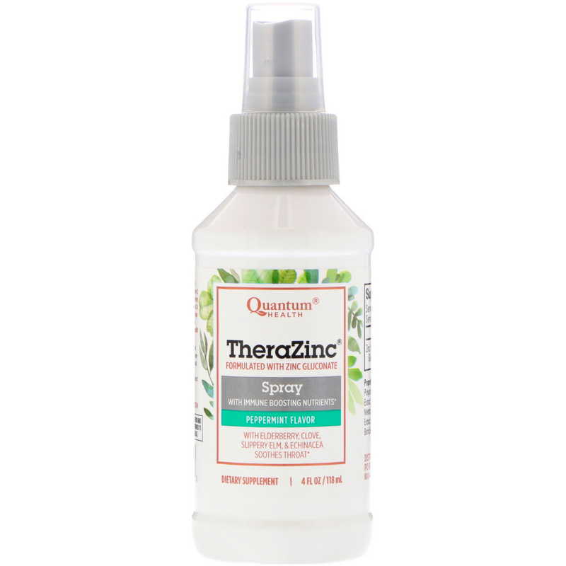 Quantum Health, TheraZinc Spray with Immune Boosting Nutrients, Peppermint Flavor, 4 fl oz (118 ml)