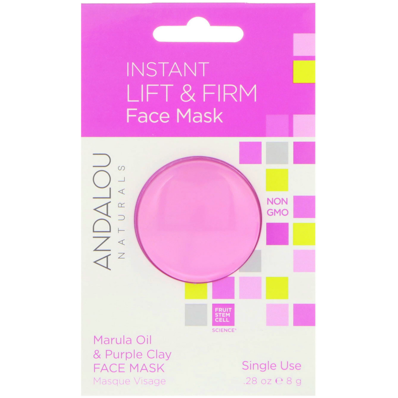 Andalou Naturals, Instant Lift & Firm, Marula Oil & Purple Clay Face Mask, .28 oz (8 g)