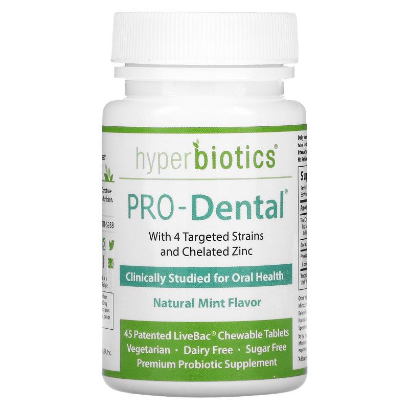 Hyperbiotics, PRO-Dental, Natural Mint Flavor, 45 Chewable Tablets