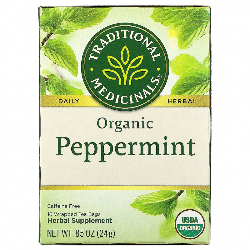 Traditional Medicinals, Herbal Teas, Organic Peppermint, Naturally Caffeine Free, 16 Wrapped Tea Bags, .85 oz. (24 g)