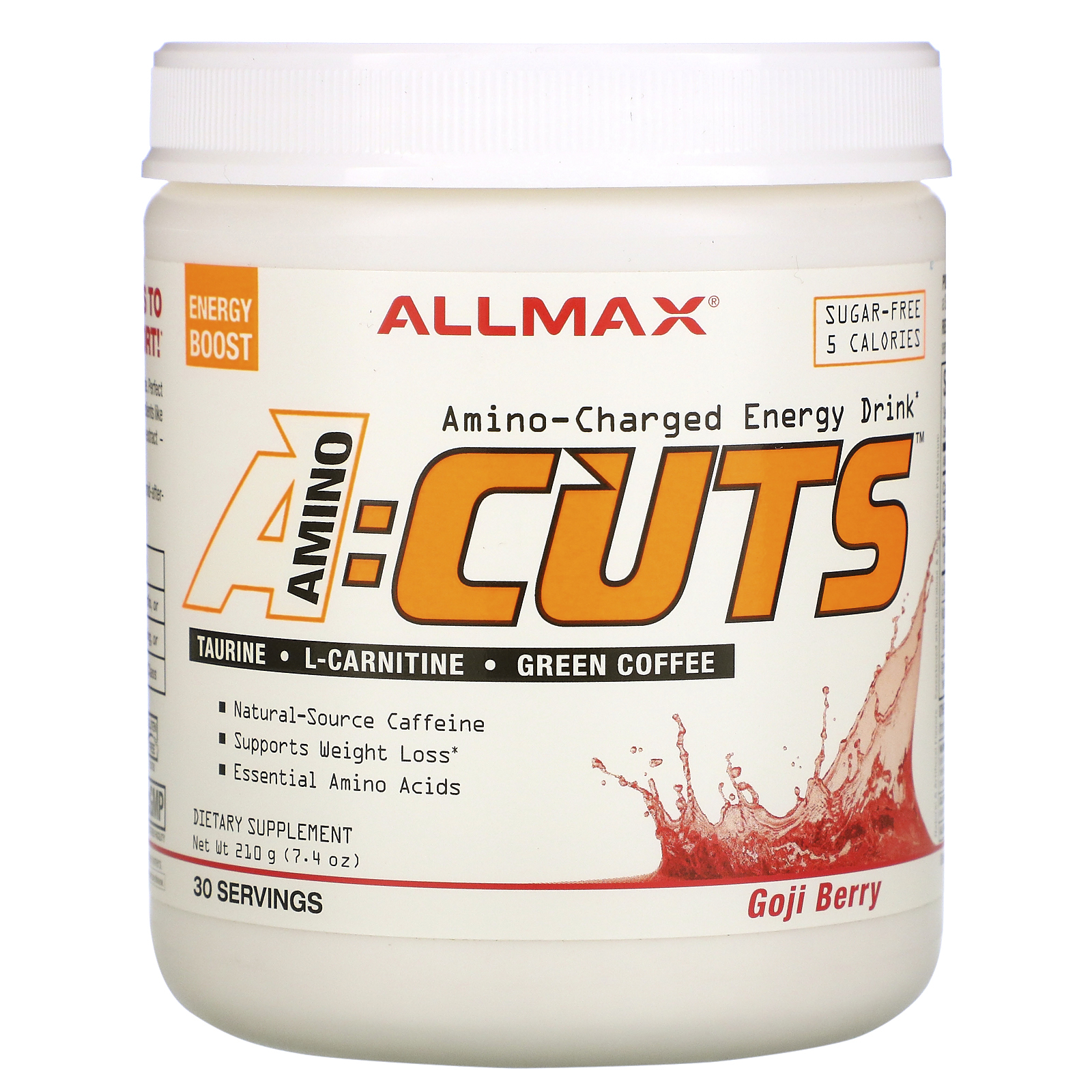 ALLMAX Nutrition, AMINOCUTS (ACUTS), Weight-Loss BCAA (CLA + Taurine + Green Coffee), Goji Berry Martini, 7.4 oz (210 g)