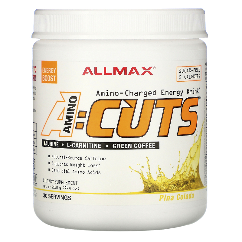 ALLMAX Nutrition, AMINOCUTS (ACUTS), Weight-Loss BCAA (CLA + Taurine + Green Coffee), Pina Colada, 7.4 oz (210 g)