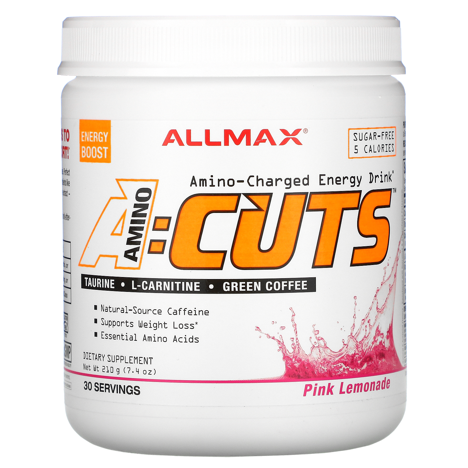 ALLMAX Nutrition, AMINOCUTS (ACUTS), Weight-Loss BCAA (CLA + Taurine + Green Coffee), Pink Lemonade, 7.4 oz (210 g)