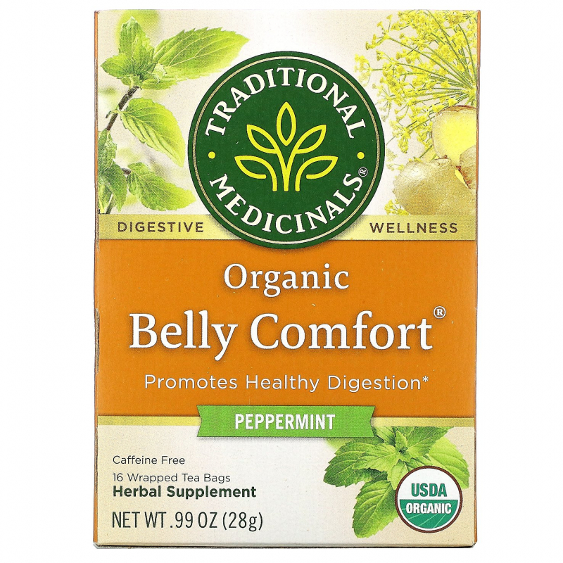 Traditional Medicinals, Digestive Teas, Organic Belly Comfort, Peppermint, Naturally Caffeine Free, 16 Wrapped Tea Bags, .99 oz (28 g)