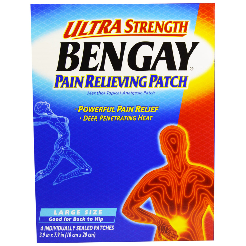 Bengay, Ultra Strength Pain Relieving Patch, Large Size, 4 Patches, 3.9 in x 7.9 in (10 cm x 20 cm)