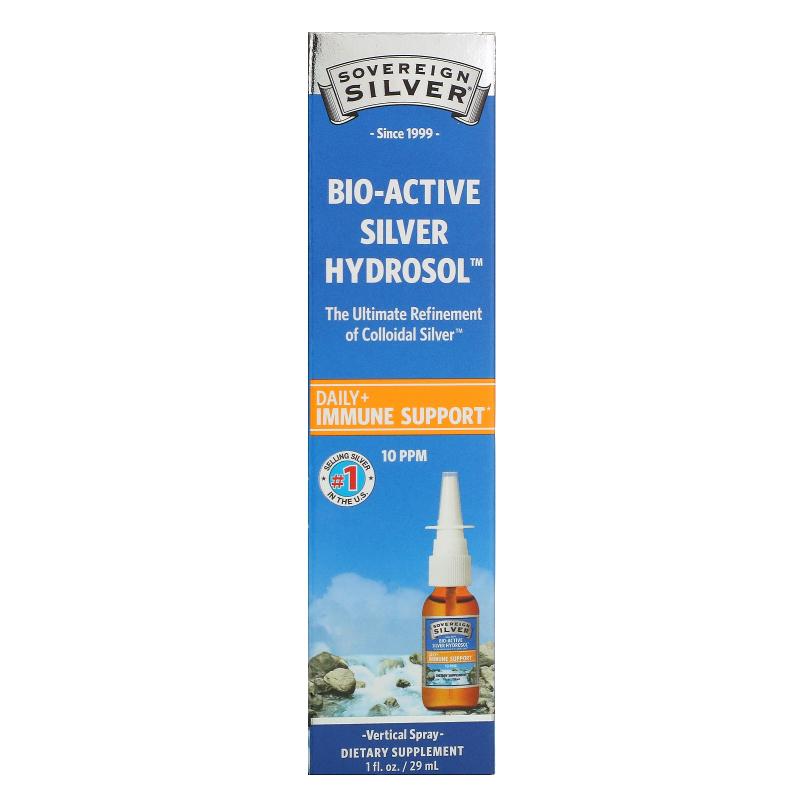 Sovereign Silver, Bio-Active Silver Hydrosol, Immune Support, Vertical Spray , 10 ppm, 1 fl oz (29 ml)