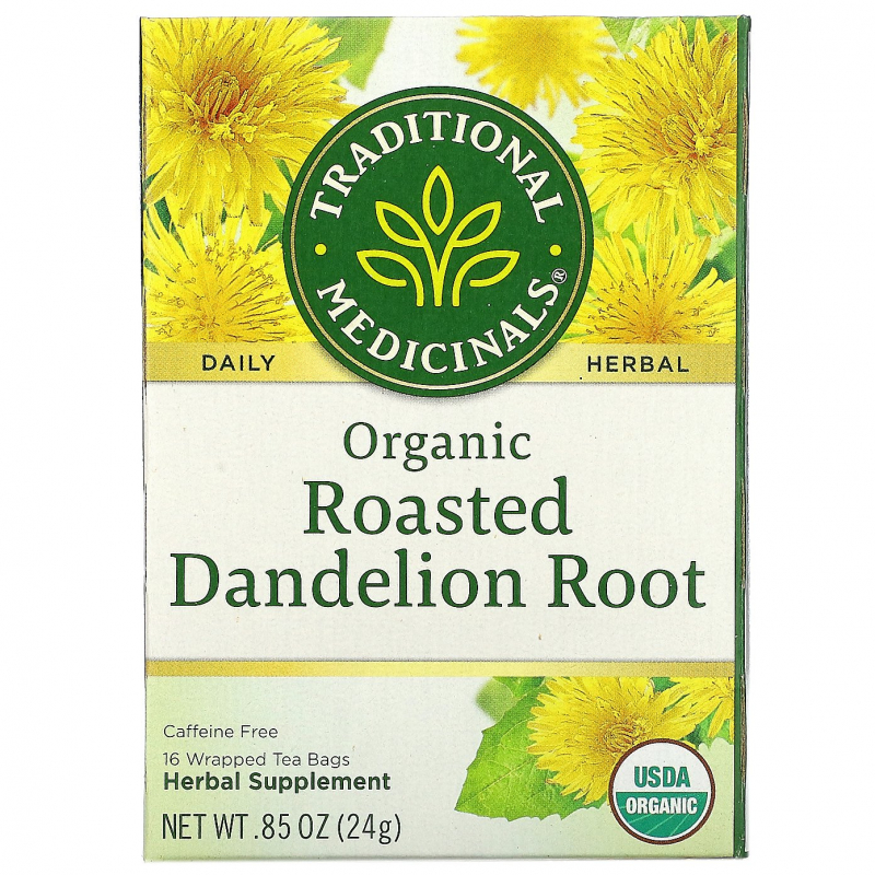 Traditional Medicinals, Herbal Teas, Organic Roasted Dandelion Root, Naturally Caffeine Free, 16 Wrapped Tea Bags, .85 oz (24 g)