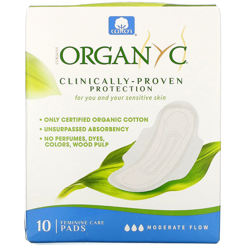 Organyc, Menstrual Pads, Moderate Flow, 10 Pads