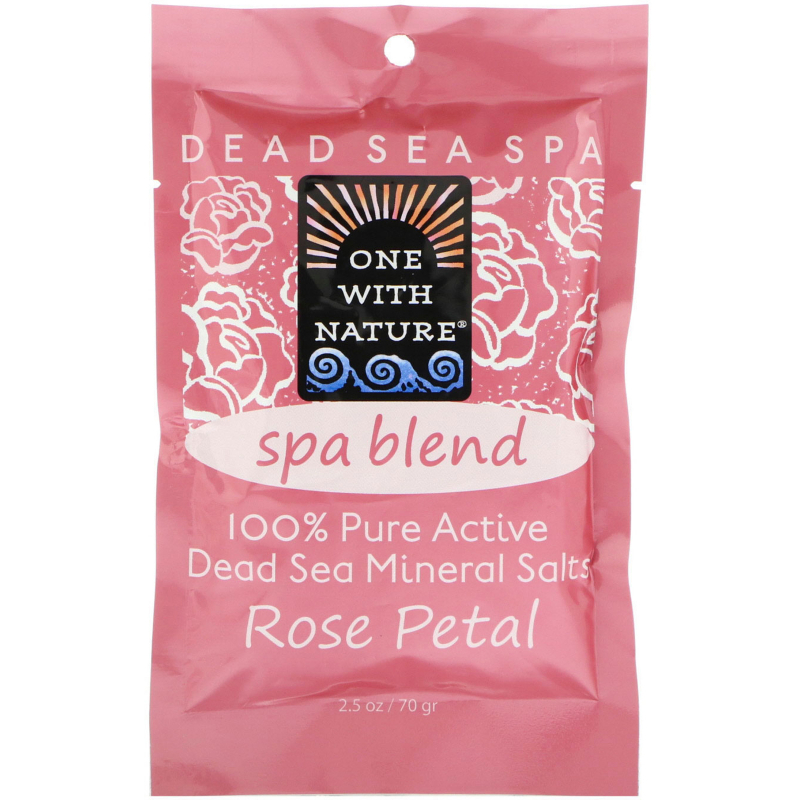 One with Nature, Dead Sea Spa, Mineral Salts, Spa Blend, Rose Petal, 2.5 oz (70 g)