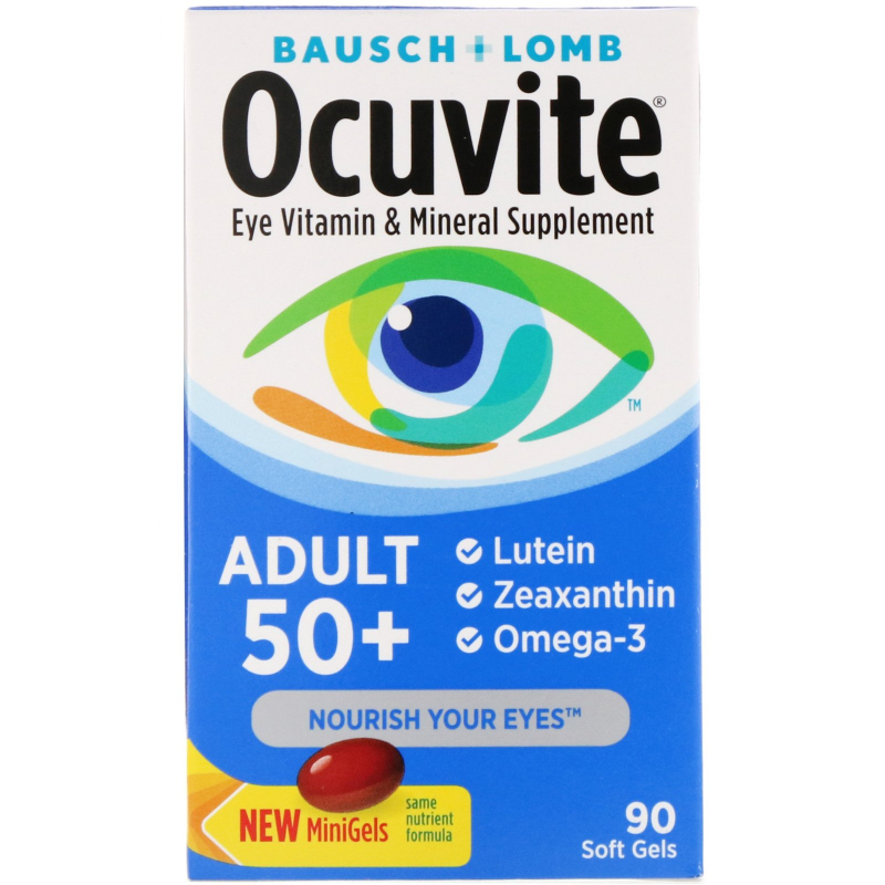 Bausch & Lomb, Ocuvite, Adult 50+, Eye Vitamin & Mineral Supplement, 90 Soft Gels