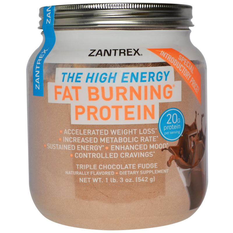 Zantrex, Fat Burning Protein Powder, Triple Chocolate Fudge, 1 lb 3 oz (542 g)