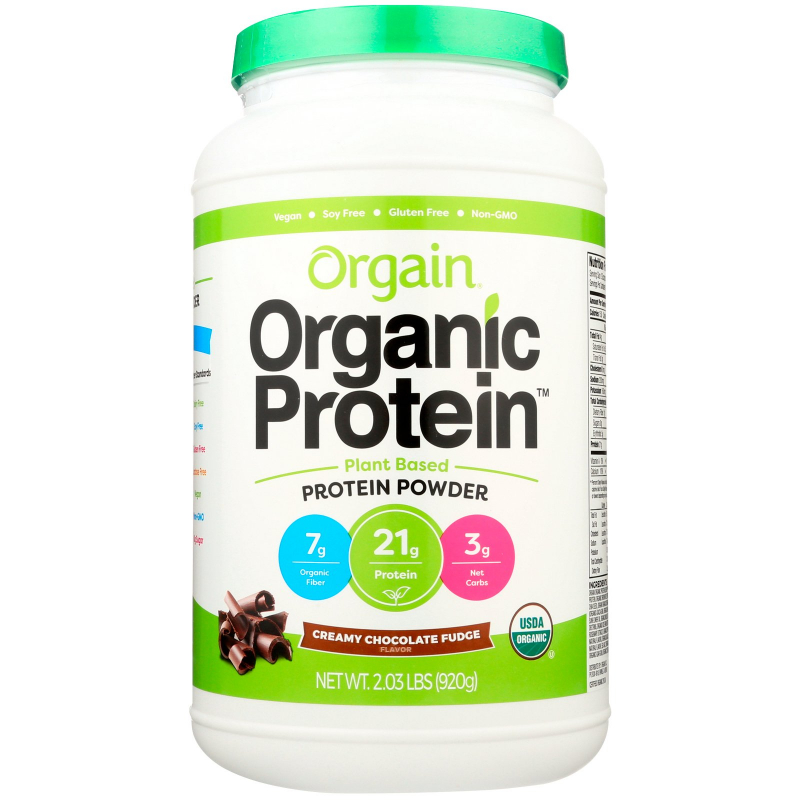 Orgain, Organic Protein Powder, Plant Based, Creamy Chocolate Fudge, 2.03 lbs (920 g)