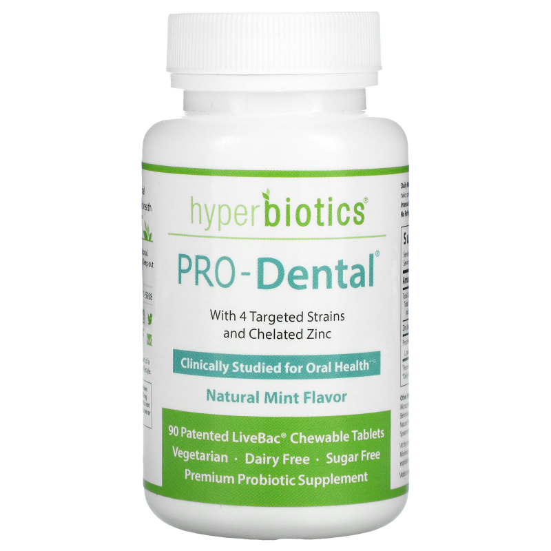 Hyperbiotics, PRO-Dental, Natural Mint Flavor, 90 Chewable Tablets
