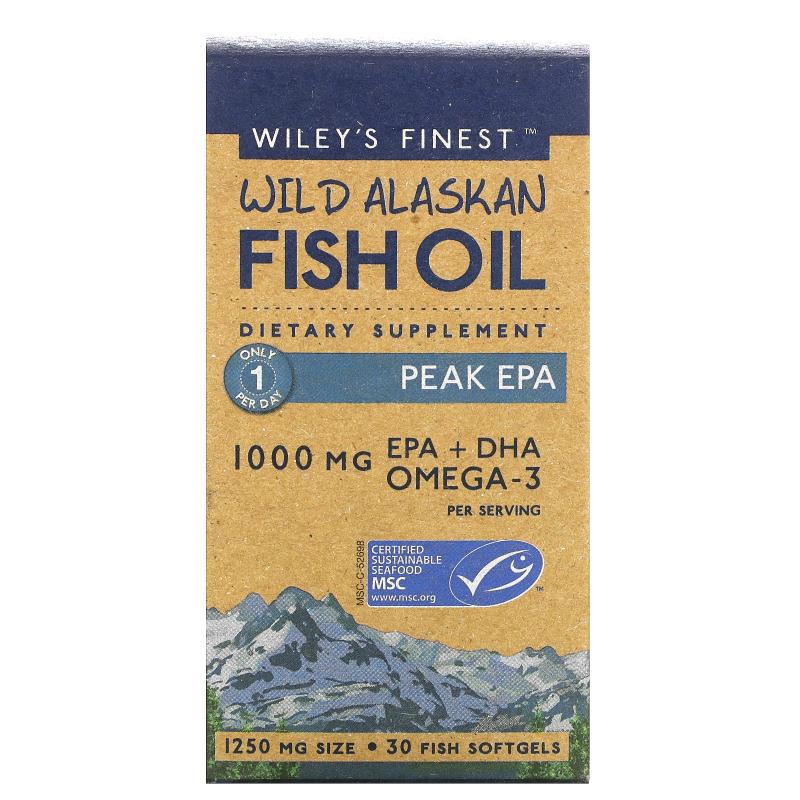 Wiley's Finest, Wild Alaskan Fish Oil, Peak EPA, 1250 mg, 30 Fish Softgels