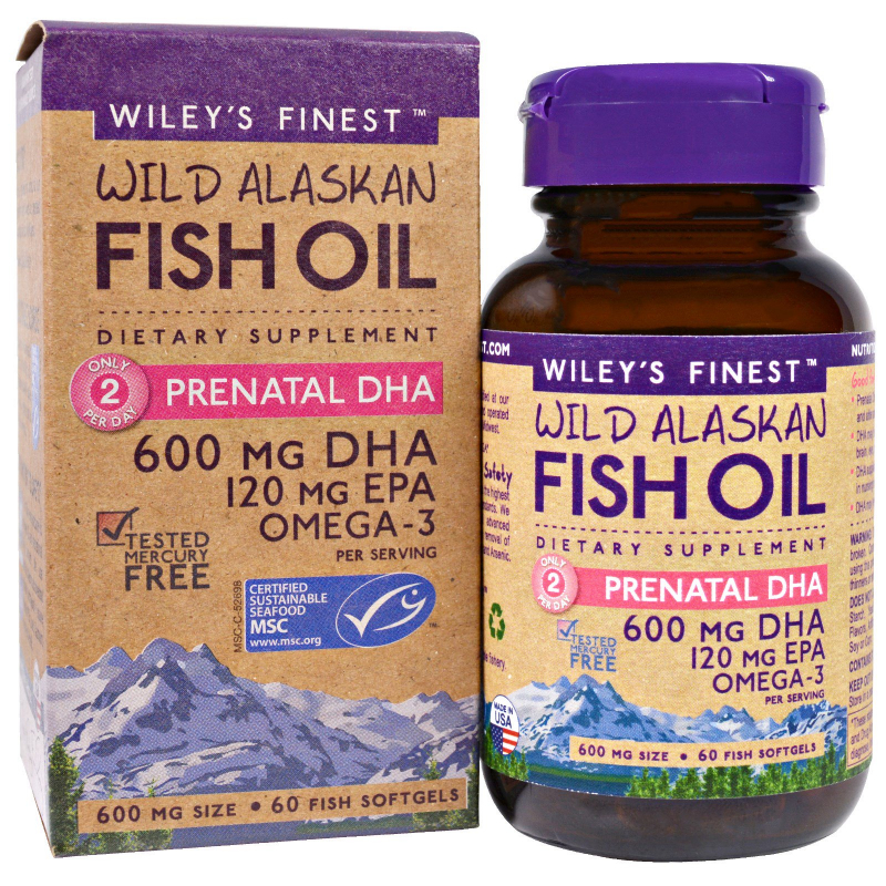 Wiley's Finest, Wild Alaskan Fish Oil, Prenatal DHA, 600 mg, 60 Fish Softgels