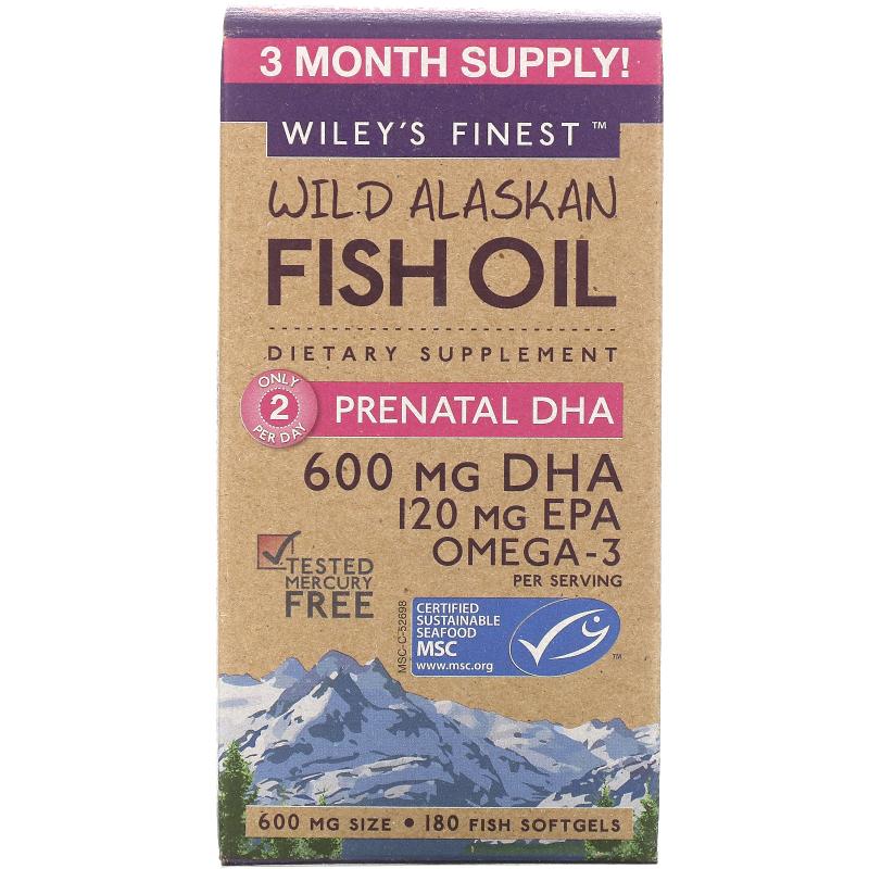 Wiley's Finest, Wild Alaskan Fish Oil, Prenatal DHA, 600 mg, 180 Fish Softgels