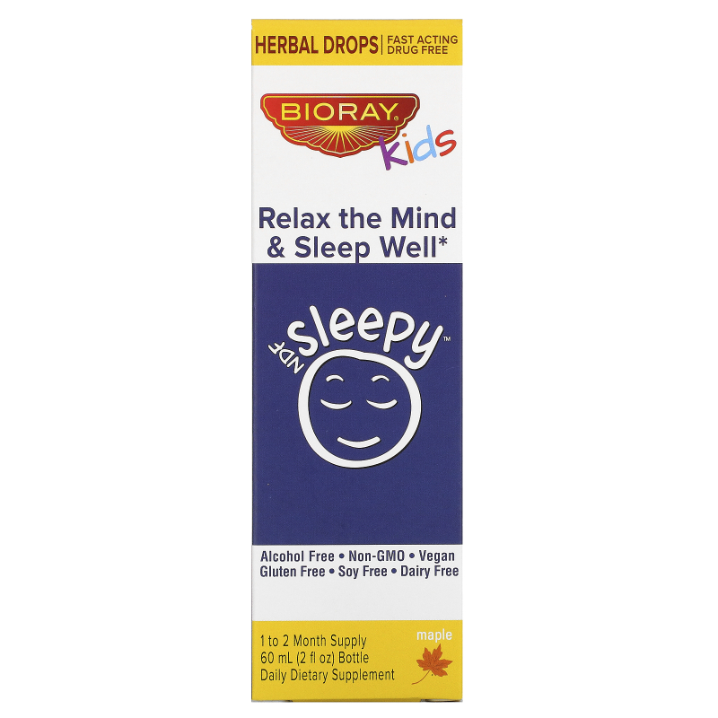Bioray Inc., NDF Sleep, Relax The Mind & Sleep Well, Kids, Maple Flavor, 2 fl oz (60 ml)