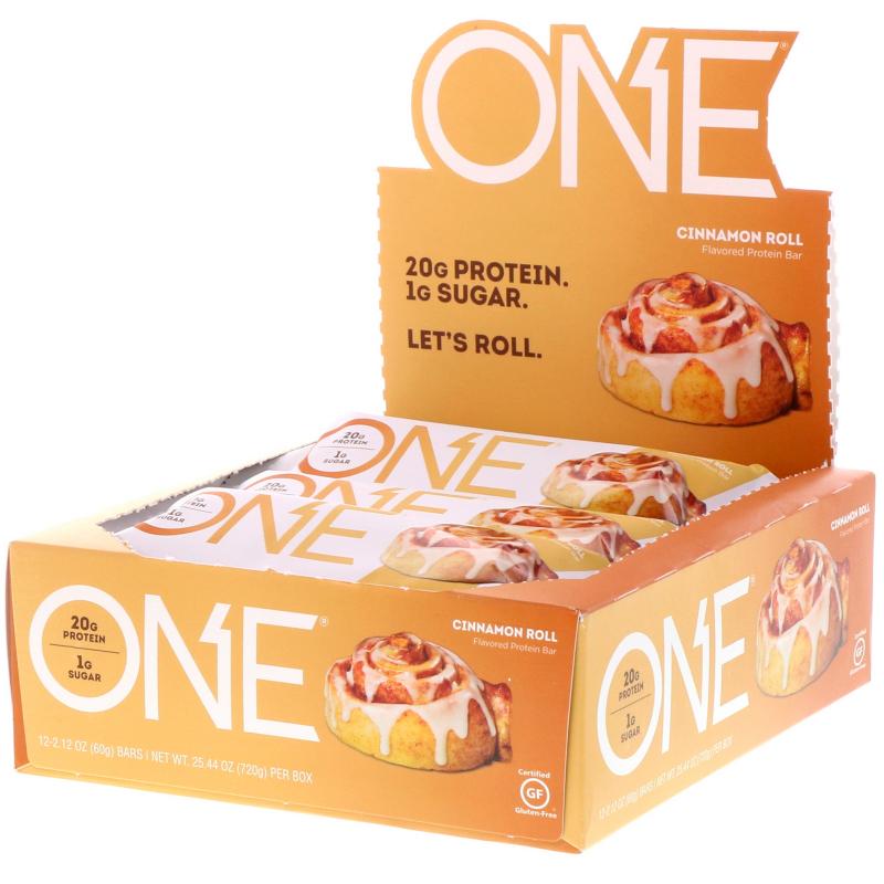 One Brands, One Bar, Cinnamon Roll, 12 Bars, 2.12 oz (60 g) Each