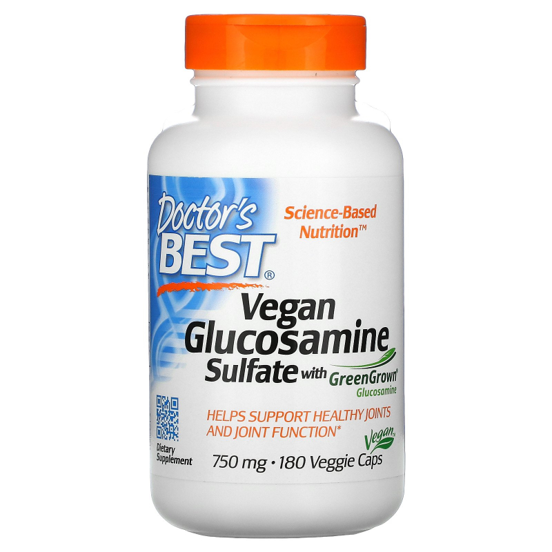 Doctor's Best, Vegan Glucosamine Sulfate with GreenGrown Glucosamine, 750 mg, 180 Veggie Caps