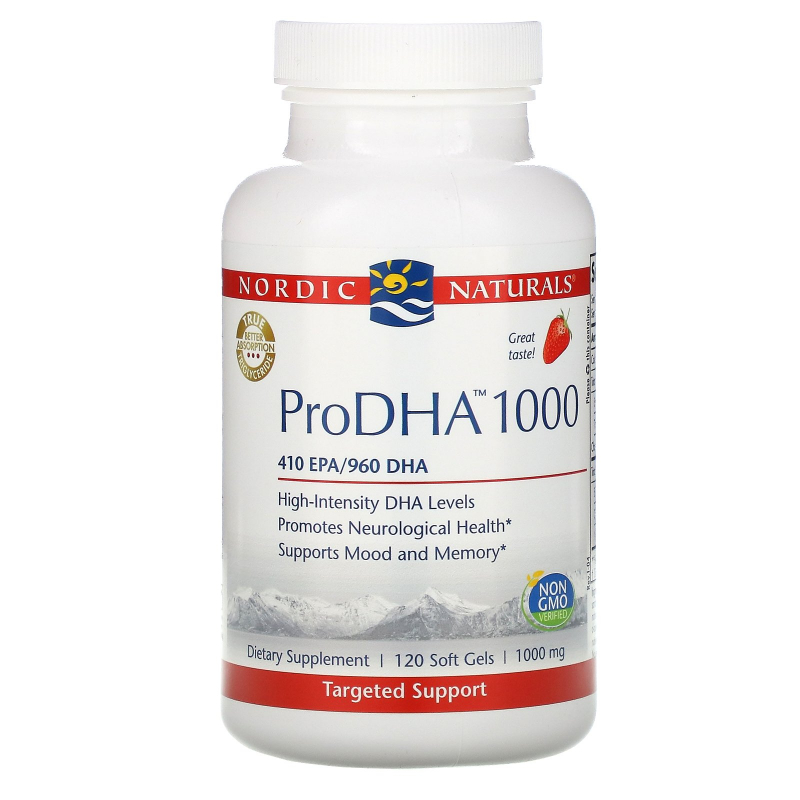 Nordic Naturals, ProDHA 1000, Strawberry Flavor, 1000 mg, 120 Soft Gels