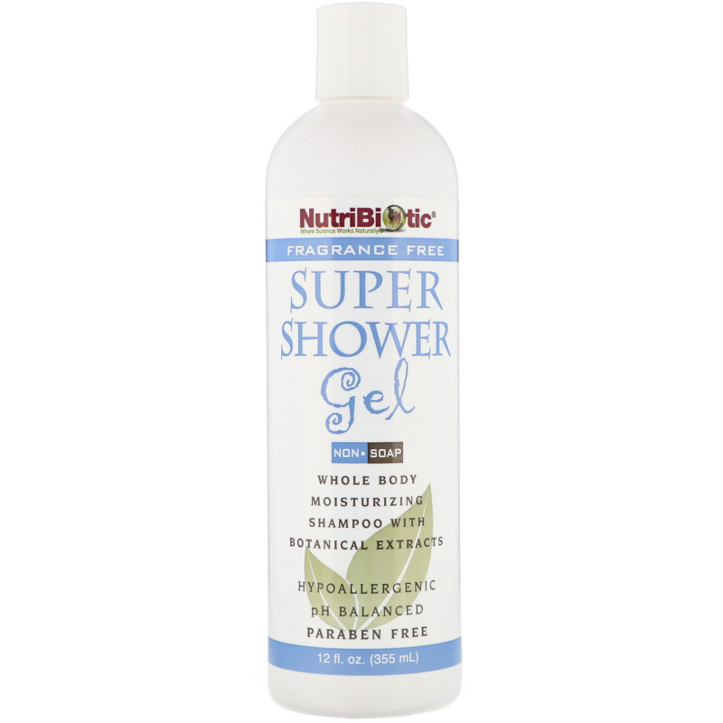 NutriBiotic, Super Shower Gel, Non-Soap, Fragrance Free, 12 fl oz (355 ml)