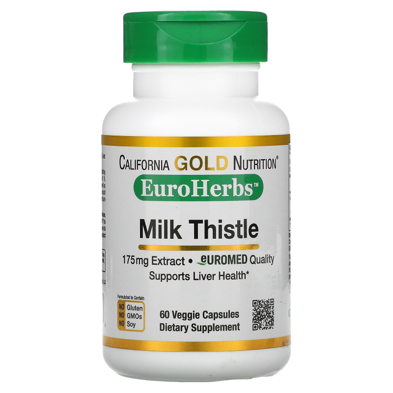 California Gold Nutrition, Milk Thistle Extract, 80% Silymarin, EuroHerbs, Clinical Strength, 60 Veggie Caps