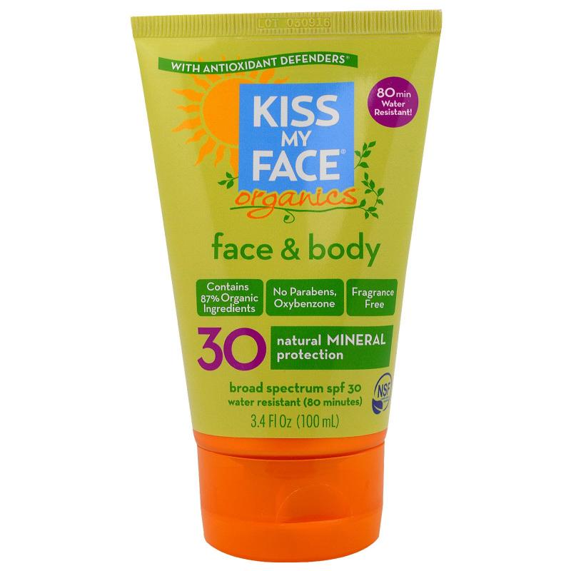 Kiss My Face, Organics, Face & Body Mineral Sunscreen, SPF 30, 3.4 fl oz (100 ml)
