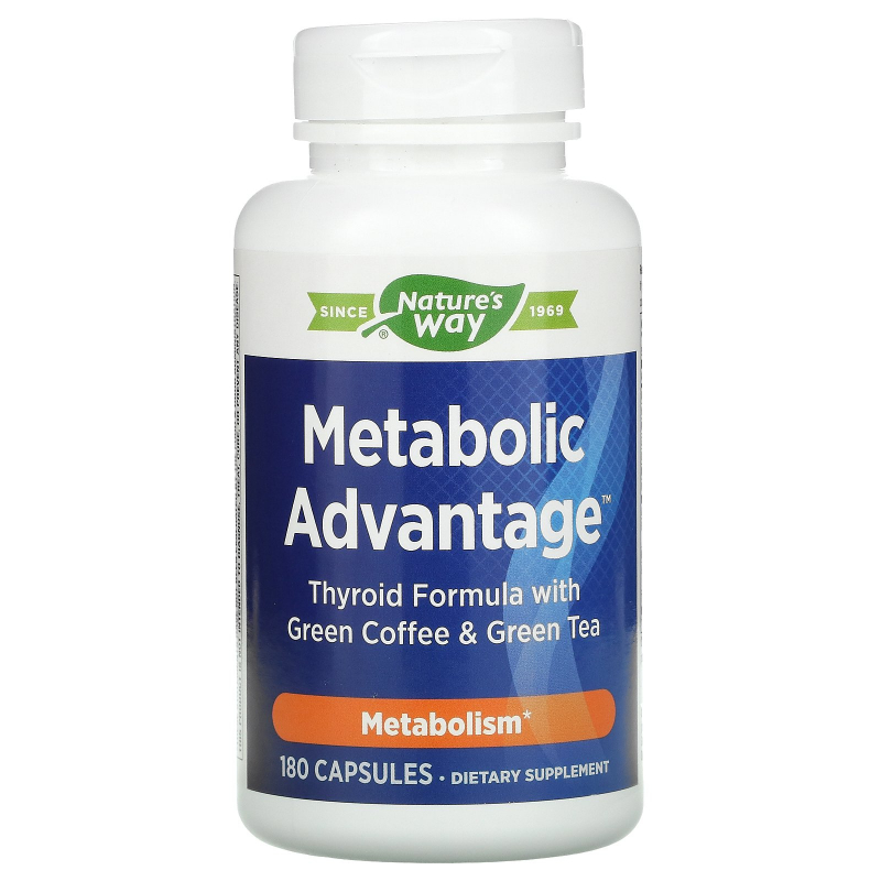 Enzymatic Therapy, Metabolic Advantage, Thyroid Formula with Green Coffee & Green Tea, Metabolism, 180 Capsules